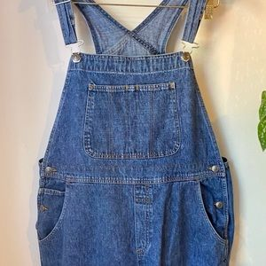 Vintage dark washed oversized overalls